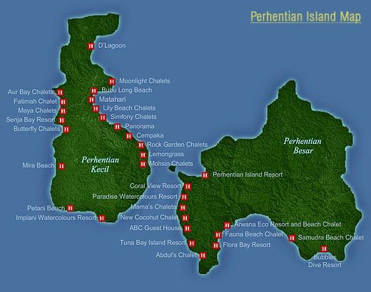 Kaart Perhentian Islands